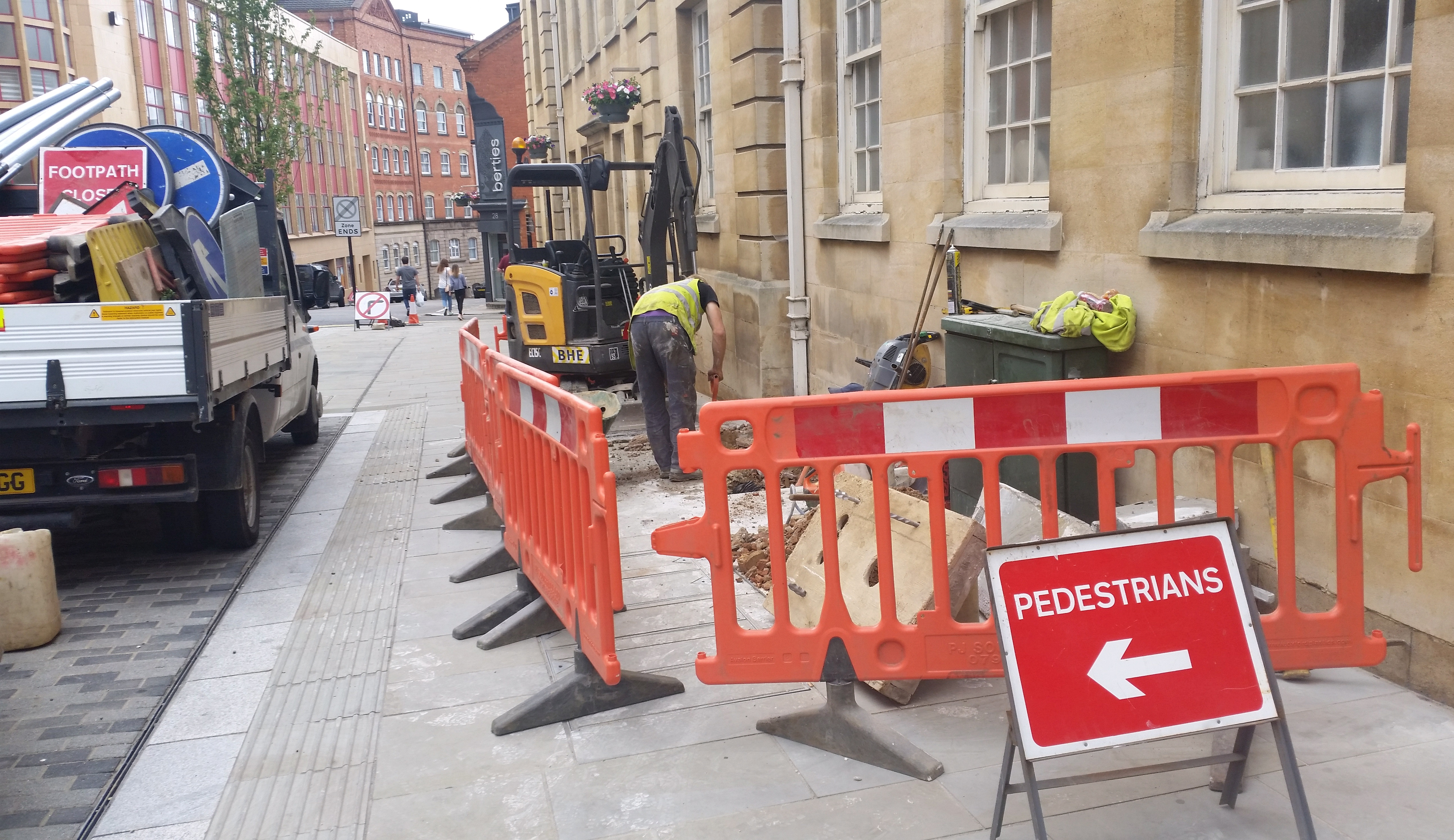 Image illustrating safety barriers in place whilst network deployment takes place.